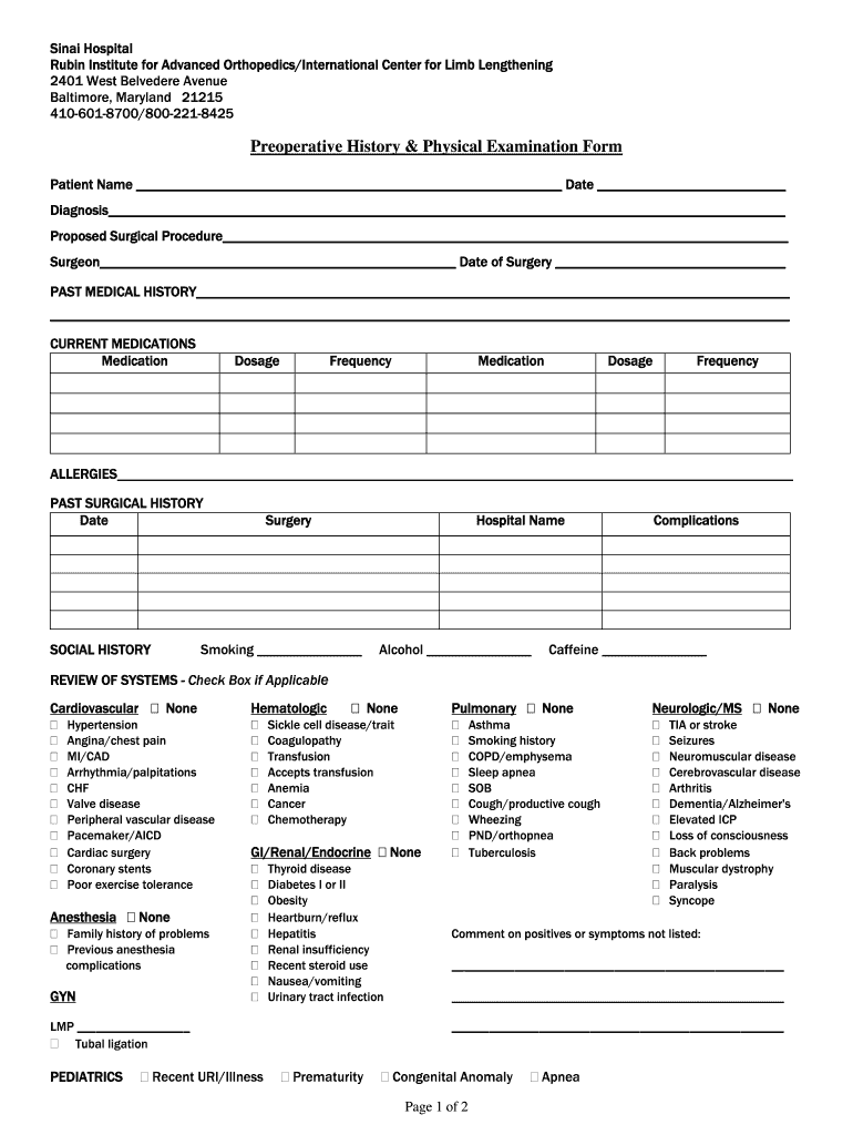 History And Physical Template Fill Out And Sign Printable Pdf Template Signnow