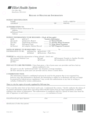 Elliot Hospital Records Resources Form Fill Out And Sign