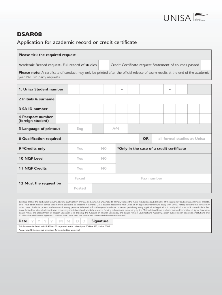Get And Sign Unisa Academic Record Form