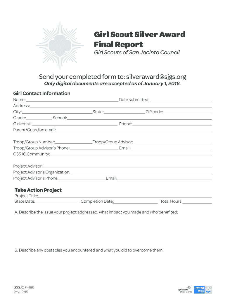 Get And Sign Silver Award Final Report Form 2015-2021