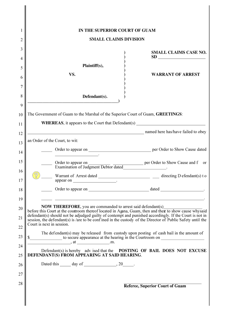 Get And Sign Small Claims Court Warrant Of Arrest Guamselfhelporg Form