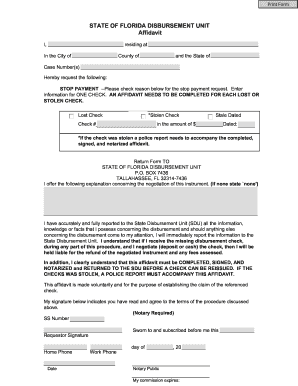 Fl state disbursement unit form - Fill Out and Sign