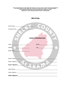 picture about Alabama Bill of Sale Printable titled Just take And Indication Monthly bill Of Sale - Shelby County Alabama Type