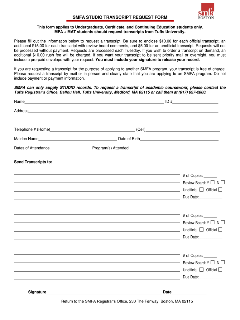 Get And Sign Smfa Transcript Request Form