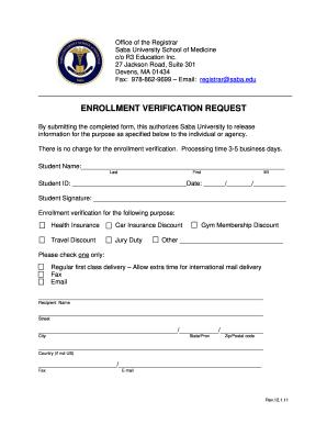 Enrollment verification request - Saba University School ...