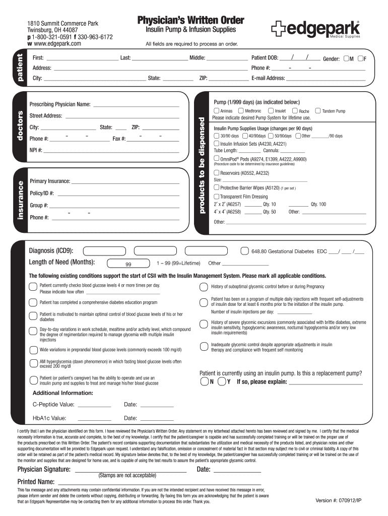 Get And Sign Physicians Written Order 2012-2021 Form