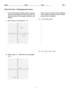 Examview A2r 25 Class Notes Writing Quadratic