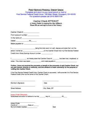 Cashiers Check Template Fill Out And