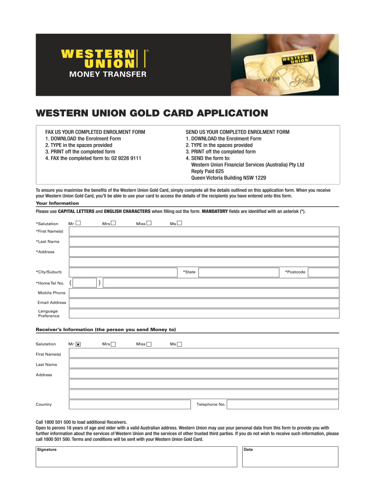 Get And Sign Western Union Gold Card Form