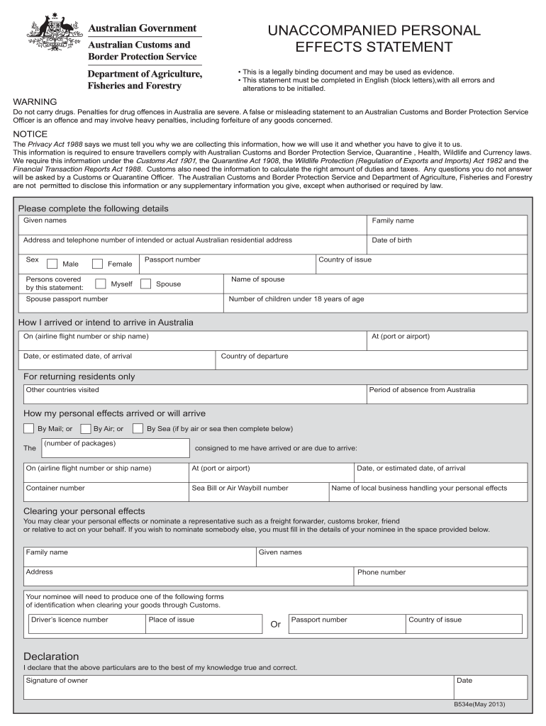 Get And Sign B534 Form  Australian Customs Service 2013-2021