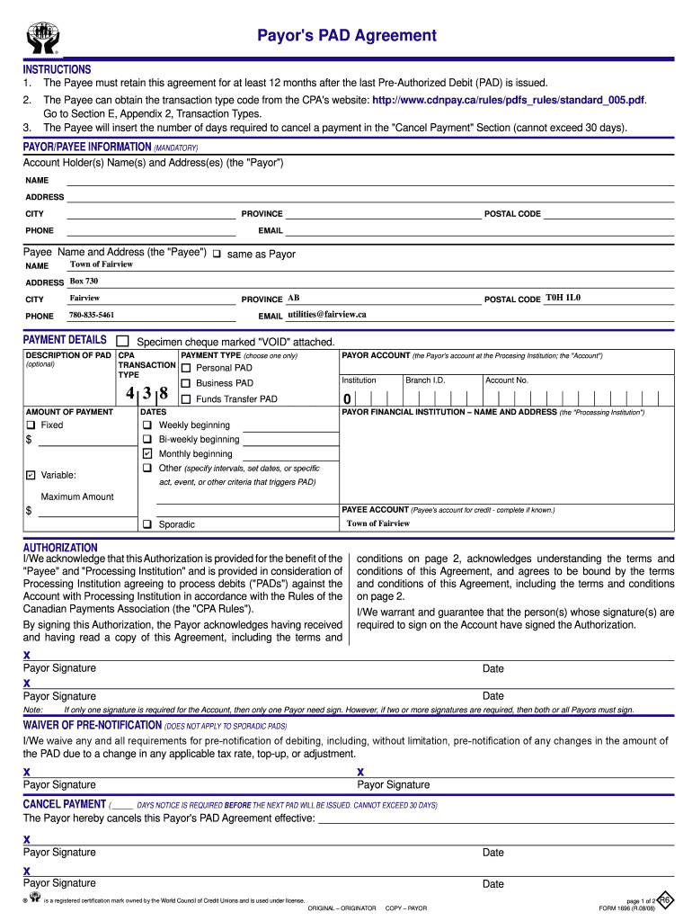 Get And Sign Payors Pad Form