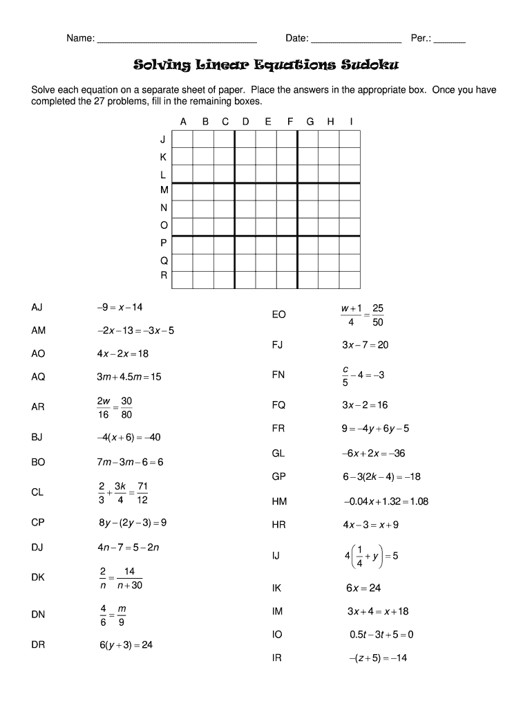 Get And Sign Solving Linear Equations Sudoku Answer Key Form