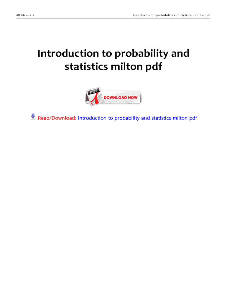 Get And Sign Introduction To Probability And Statistics Milton And Arnold Pdf Form