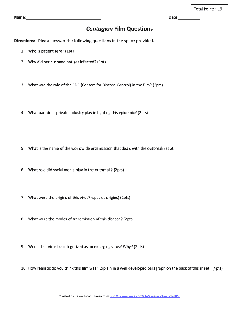 Contagion Film Questions Fill Out And Sign Printable Pdf Template Signnow