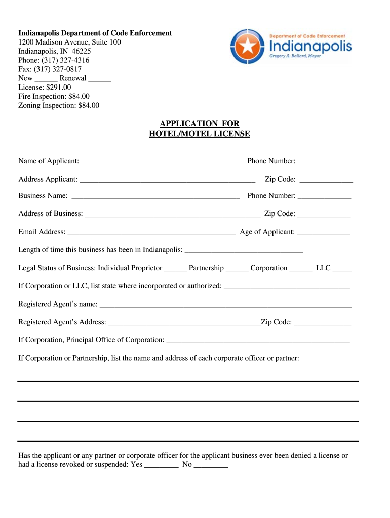 Get And Sign APPLICATION FOR HOTELMOTEL LICENSE  City Of Indianapolis  Indy Form