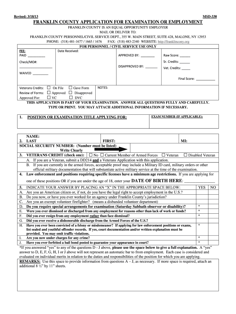Get And Sign Application For Examination Or Employment  Rev    Franklin County  Franklincony 2013-2021 Form