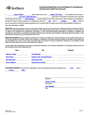 Get And Sign Corporate Resolution Certificate Of Inbency Form 5 01
