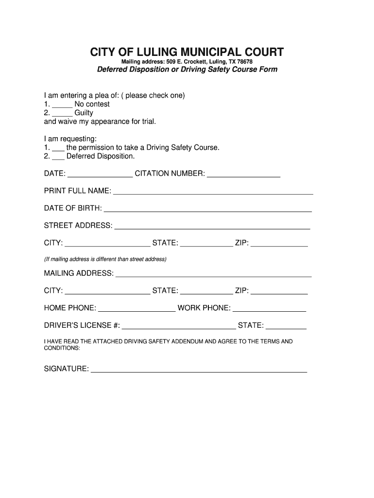 Get And Sign Drivers' Safety Course Or Deferral Request Form  City Of Luling  Cityofluling