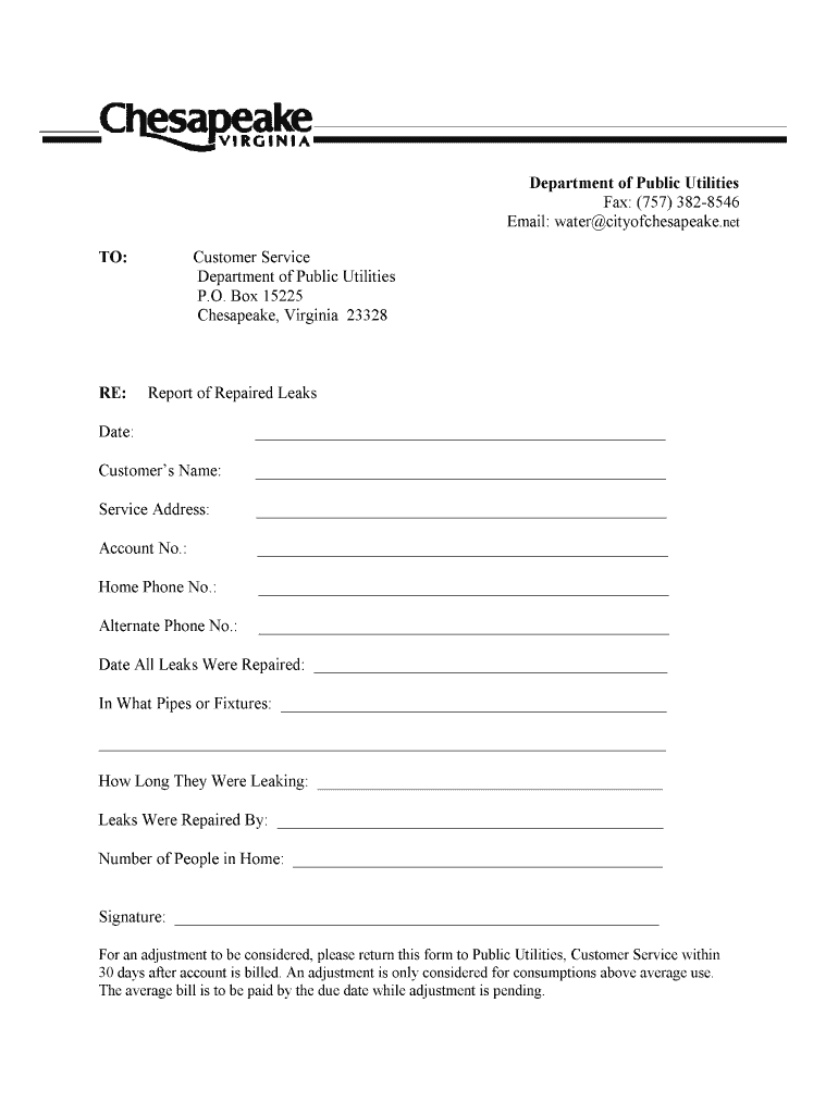 Get And Sign City Of Chesapeake Net Leak Adjustment Form