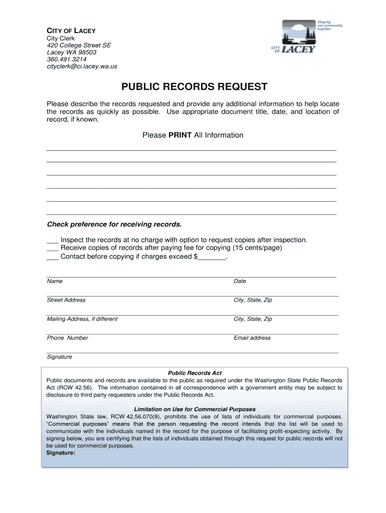 Get And Sign Public Records Request Form  City Of Lacey