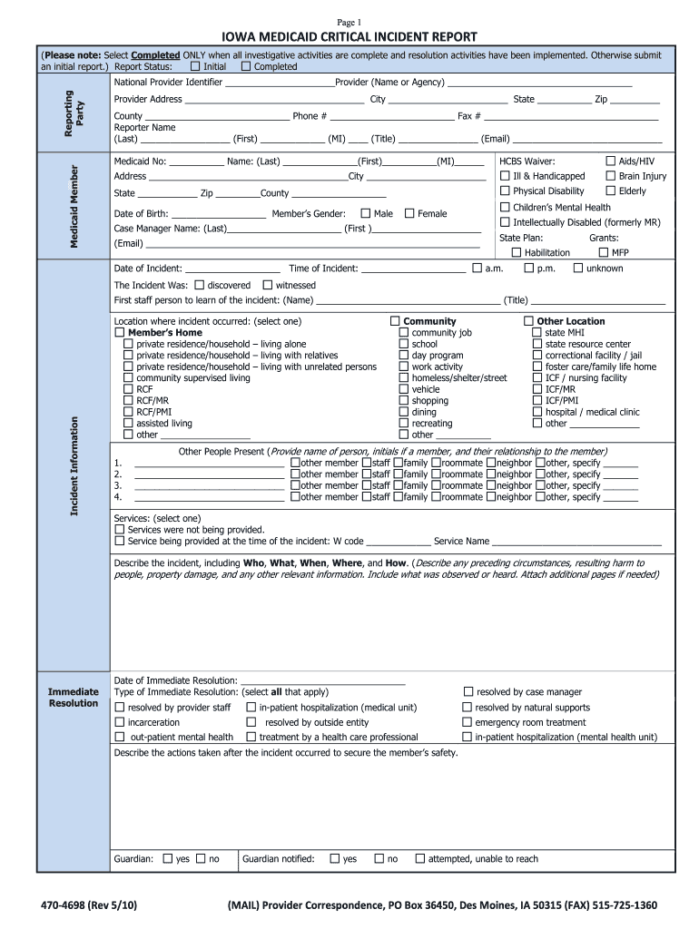 iowa total care critical incident report