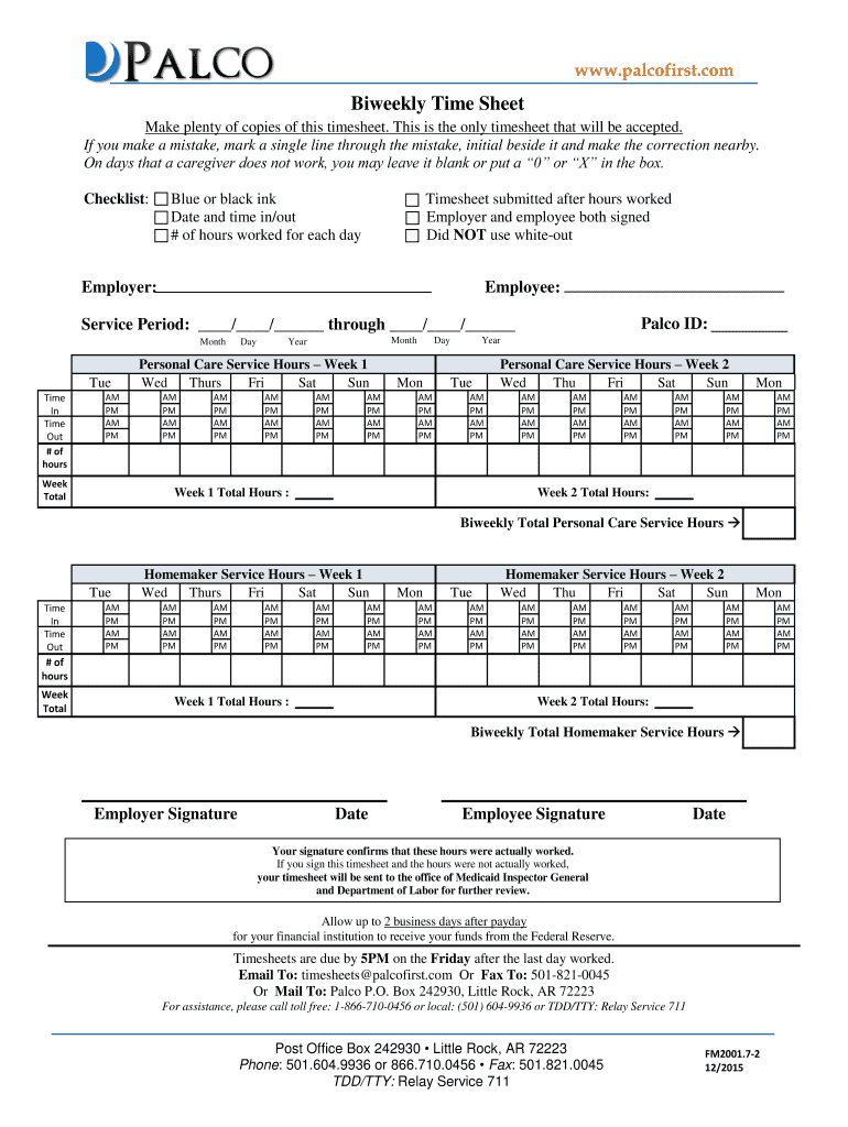 personal care timesheet
