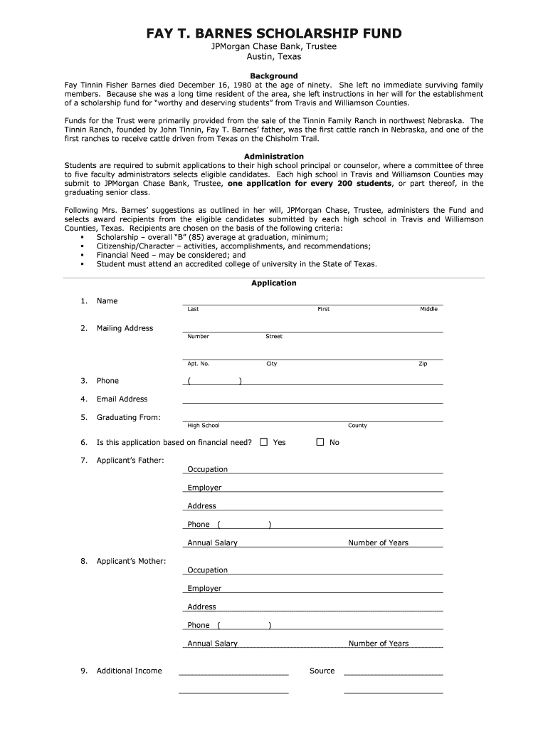 Get And Sign Fay Barnes Scholarship Form