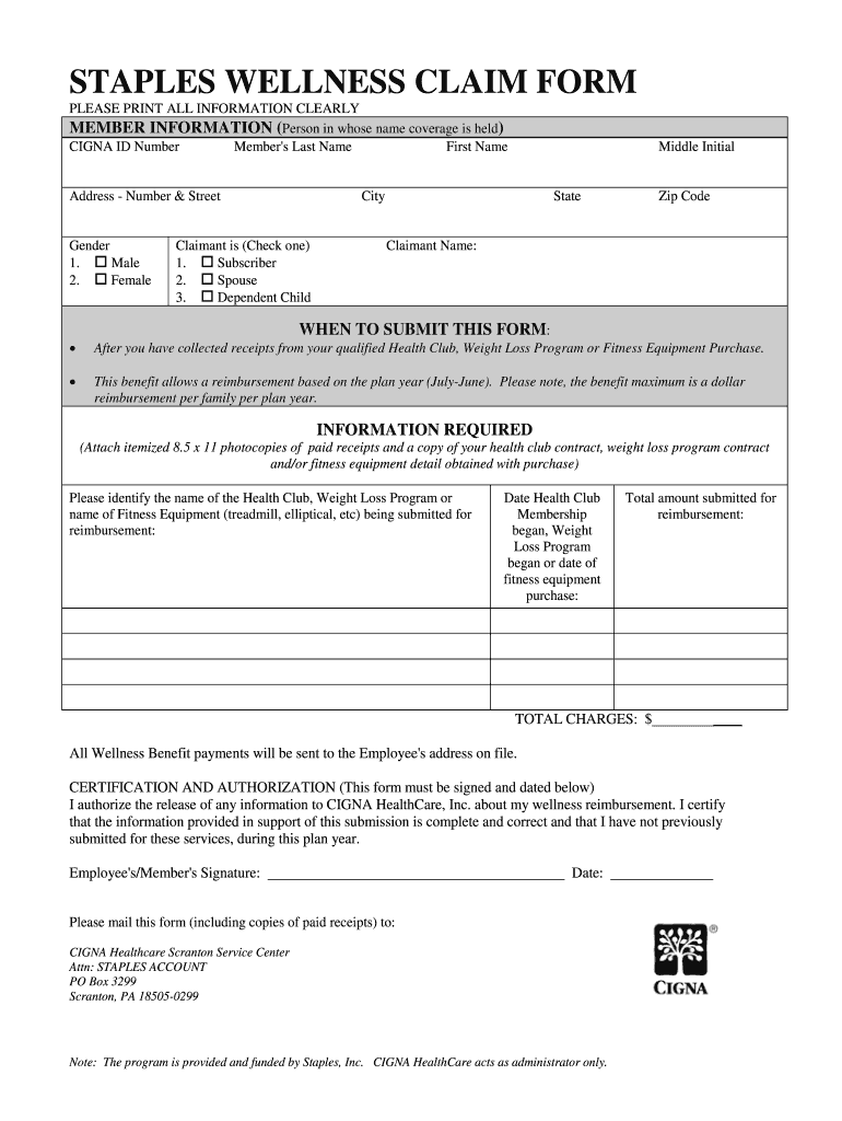 Get And Sign Staples Wellness Claim Form