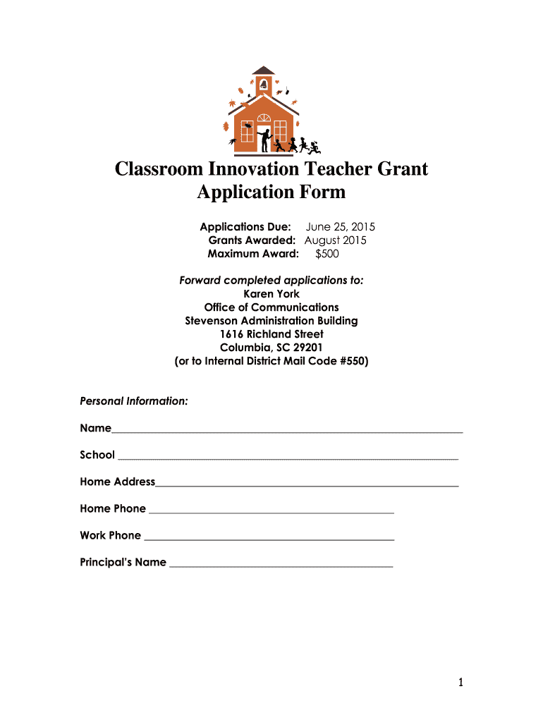 Get And Sign Classroom Innovation Teacher Grant Application Form Richlandone 2015-2021