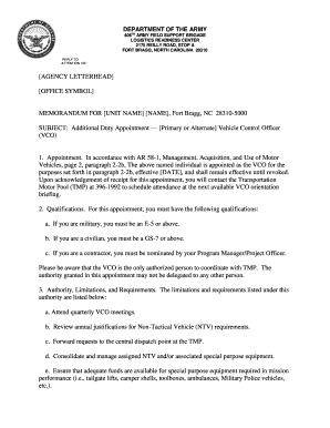 Agency Letterhead Memorandum For Unit Name Fort Bragg