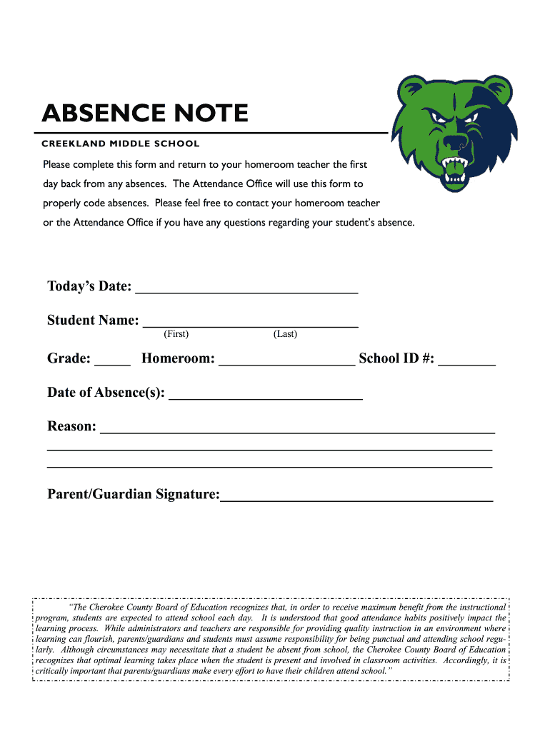 Get And Sign ABSENCE NOTE  Cherokee County School District Form