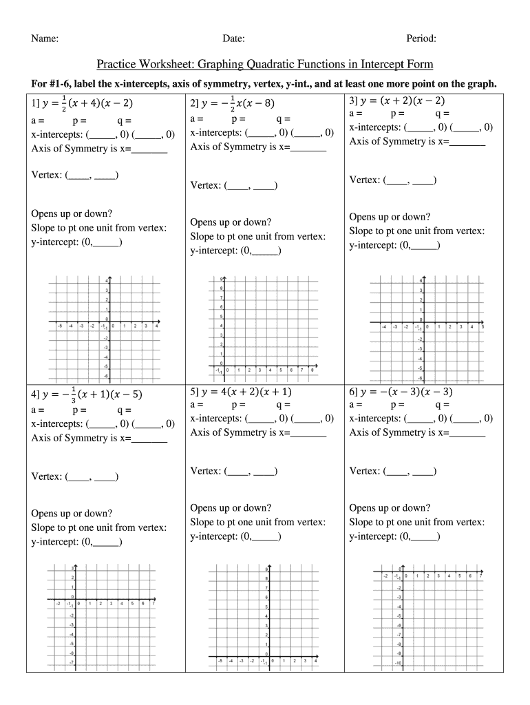 Worksheet Graphing Quadratics From Standard Form Answer ...