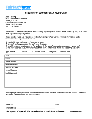 REQUEST FOR COURTESY LEAK ADJUSTMENT - Fairfax Water form