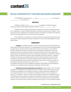 Download Non Disclosure Agreement Content26 Form Fill