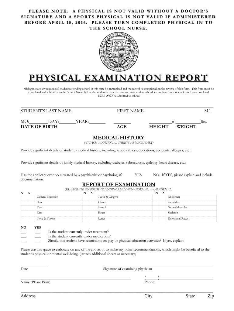Get And Sign PHYSICAL EXAMINATION REPORT St Marys Preparatory Form