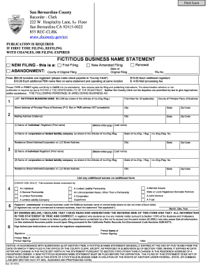 Get And Sign FICTITIOUS BUSINESS NAME STATEMENT  Sbcountygov 2016-2021 Form