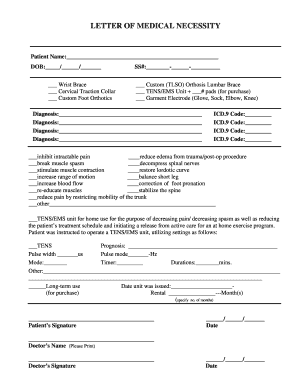 LETTER OF MEDICAL NECESSITY form   Fill Out and Sign Printable PDF