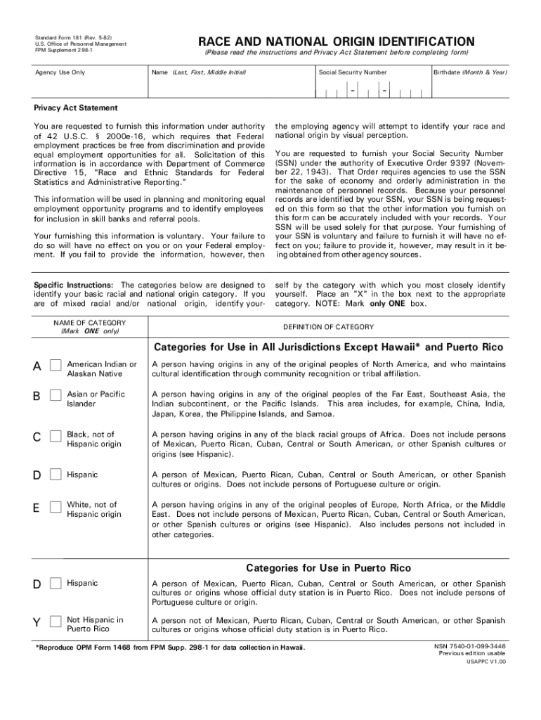 Get And Sign Standard Form 181 Opm 1982-2021