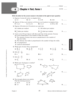 Glencoe precalculus chapter 4 test form 1 answers - Fill Out and