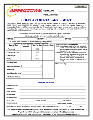 Golf Cart Rental Agreement Form Fill Out And Sign