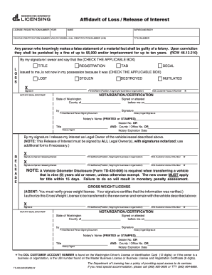 picture about Printable Odometer Statement referred to as Washington odometer disclosure assertion style - Fill Out and