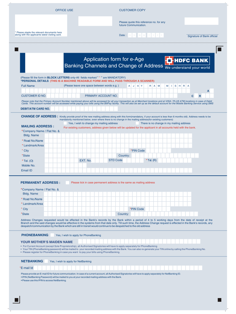 Get And Sign Hdfc Net Banking 2007-2021 Form