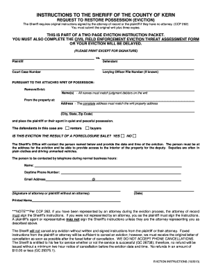 Kern county sheriff evictions form - Fill Out and Sign