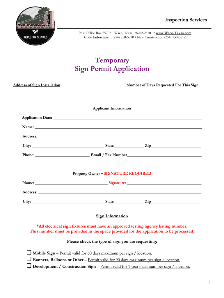 Get And Sign City Of Waco Sign Permit Application Form