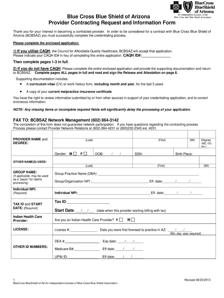 Get And Sign Contracting Request Form Medical Provider Bluecross Blueshield Of Arizona 2013-2021