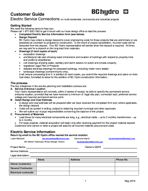 Electric Service Information Form - BC Hydro - Fill Out and