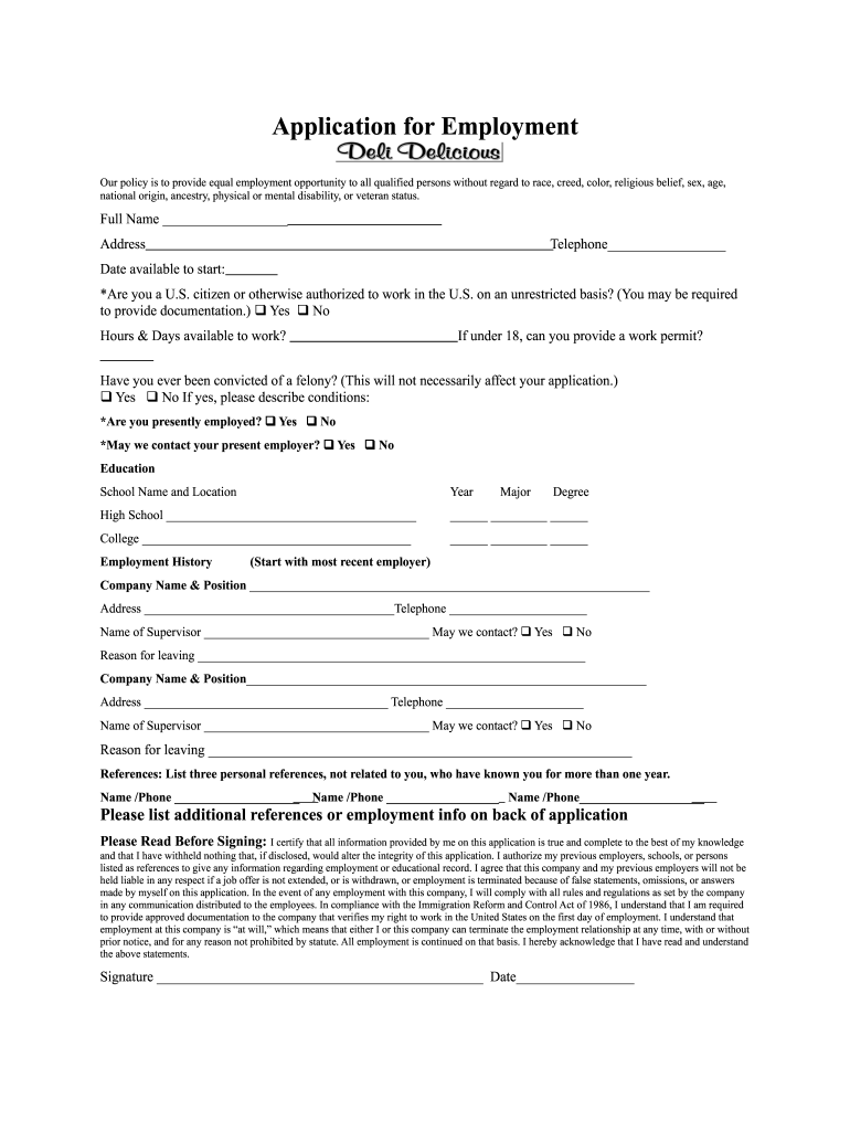 Get And Sign Deli Delicious Application Form