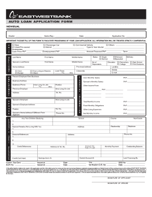 photo relating to Printable Car Loan Application identified as Car Bank loan Computer software Kind - EastWest Financial institution - Fill Out and
