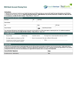 Hsa bank account closing form - Fill Out and Sign Printable