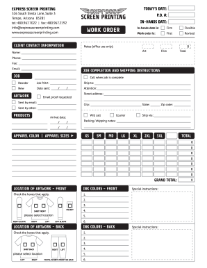 Express Screen Printing Work Order Form Fill Out And Sign